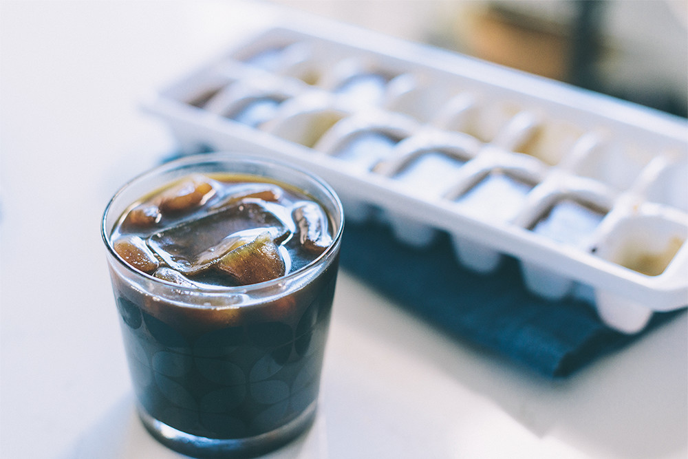 Iced coffee with coffee ice cubes.